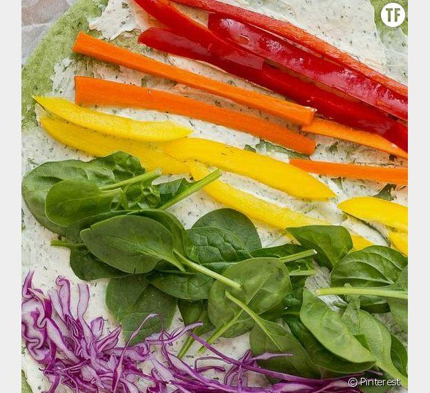 Disposez les légumes de cette façon sur la tortilla.