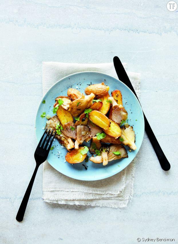 Pommes de terre flambées aux pleurotes