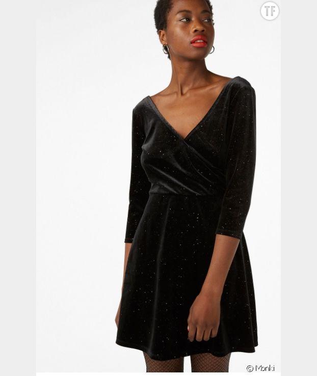 Petite robe noire en velours Monki
