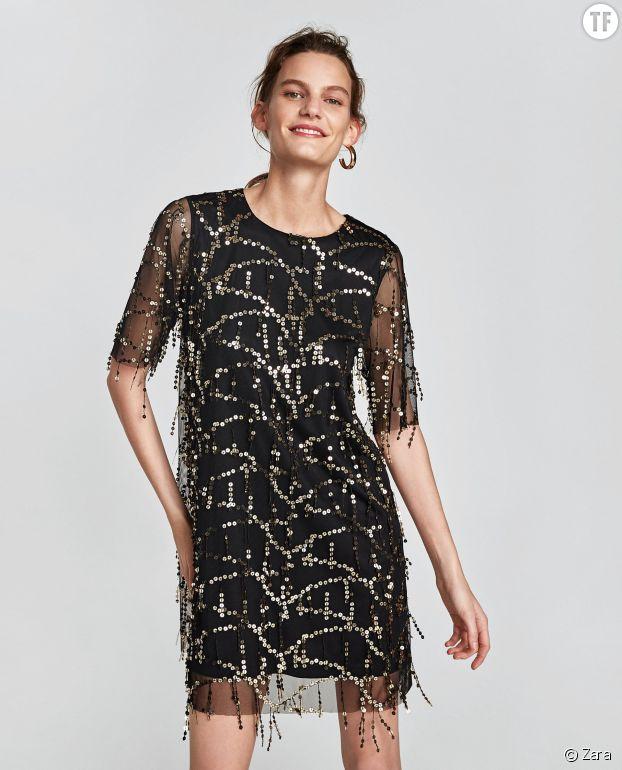 Robe noire à frange et sequins Zara