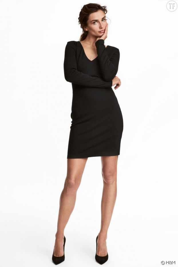 Robe noire moulante H&M