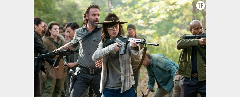 "Carl et Rick dans la saison 8 de ""The Walking Dead"""