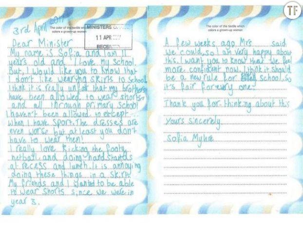 La lettre écrite par Sofia Myrhe