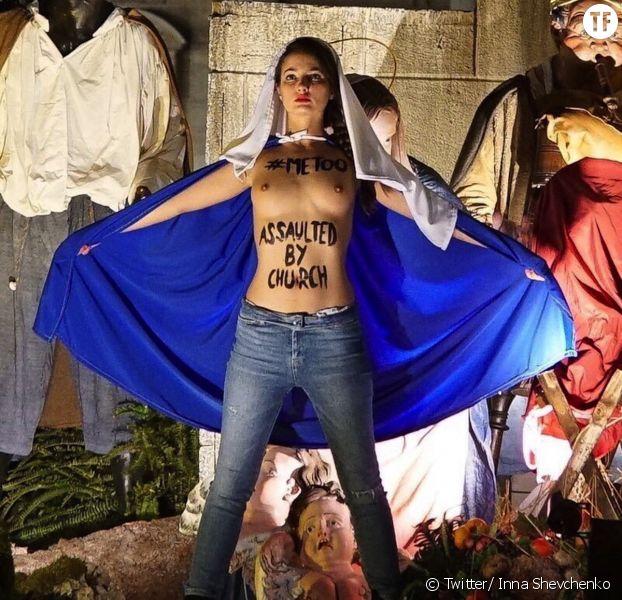 Action du groupe Femen en faveur de l'avortement, Vatican, lundi 25 décembre 2017