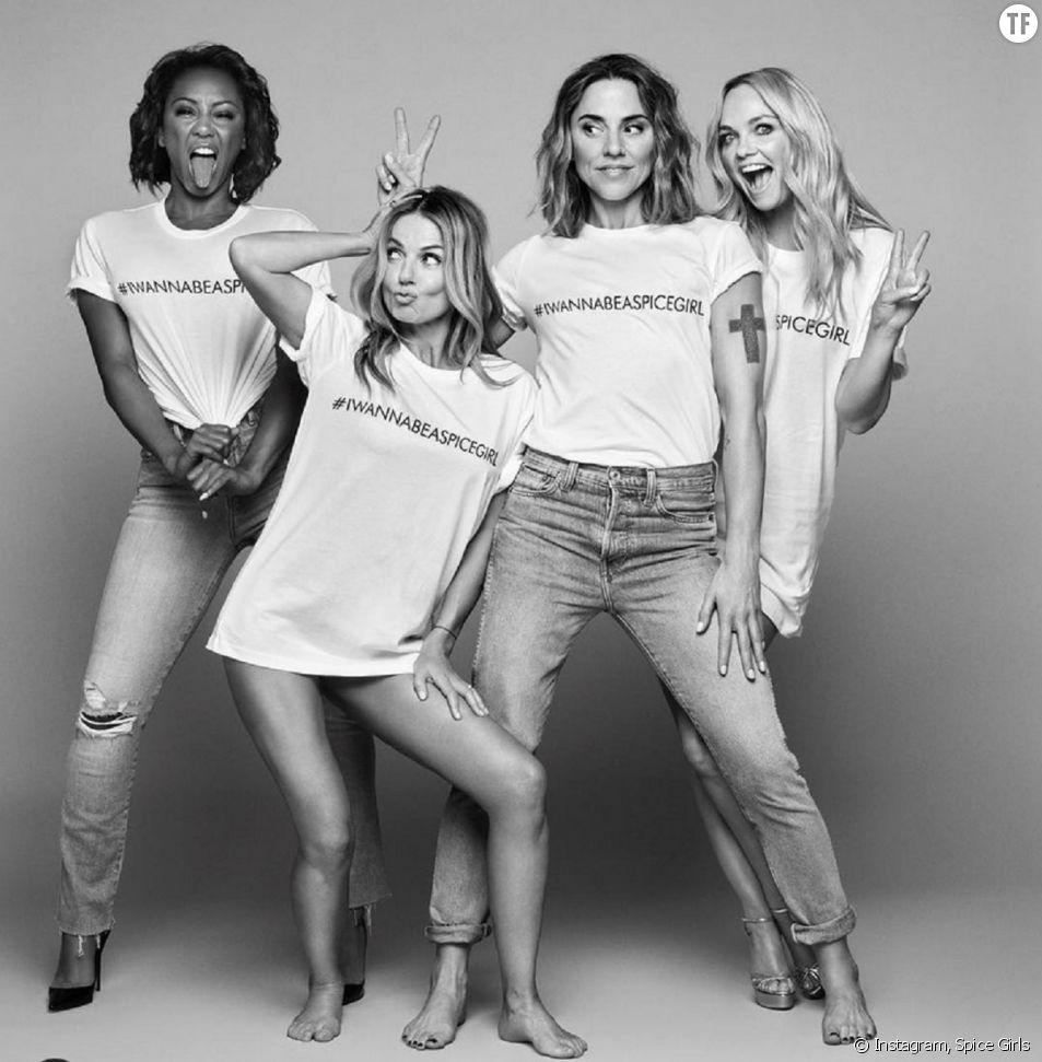 Les Spice Girls avec leur t-shirts fabriquées par des ouvrières sous-payées au Bengladesh