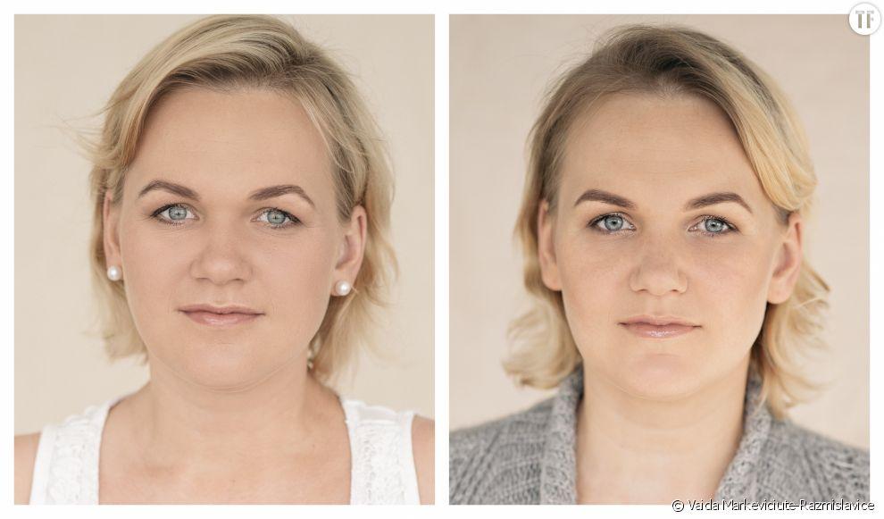 La lumière varie d'une prise à l'autre à cause d'un changement de studio, précise la photographe.
