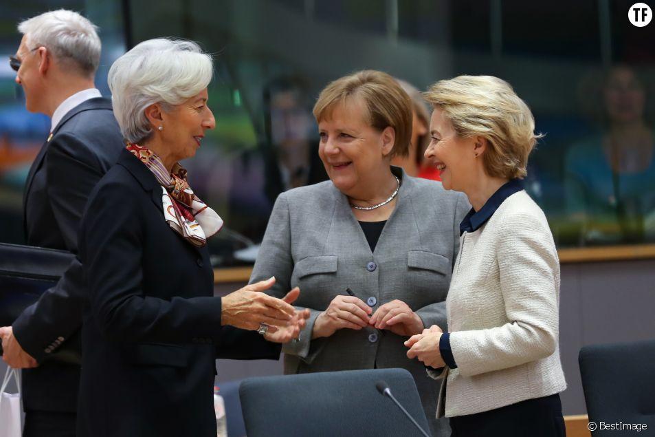 Ursula Von Der Leyen, Christine Lagarde et Angela Merkel à Bruxelles.