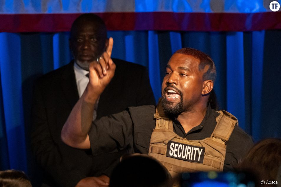 Le rappeur Kanye West lors de son meeting à Charleston le 19 juillet 2020