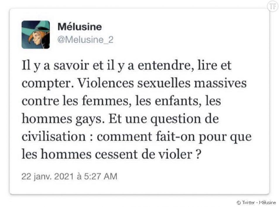 """""""Comment fait-on pour que les hommes cessent de violer ?"""" : la question de la militante féministe Mélusine dérange Twitter."""
