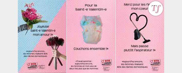 Des fleurs ou l'aspirateur ? : Osez le féminisme détourne la Saint-Valentin