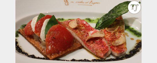 Recette du chef Christian Constant : filet de rouget poêlé, fine tarte à la mozzarella