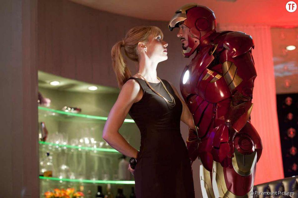 Gwyneth Paltrow et Robert Downey Jr dans Iron Man 2