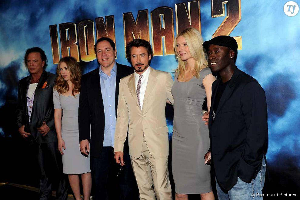 Le casting de Iron Man 2 : Mickey Rourke, Scarlett Johansson, Jon Favreau, Robert Downey Jr, Gwyneth Paltrow et Don Cheadle