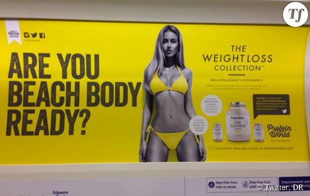 """""""Votre corps est-il prêt pour la plage ?"""" demande la publicité Protein World."""