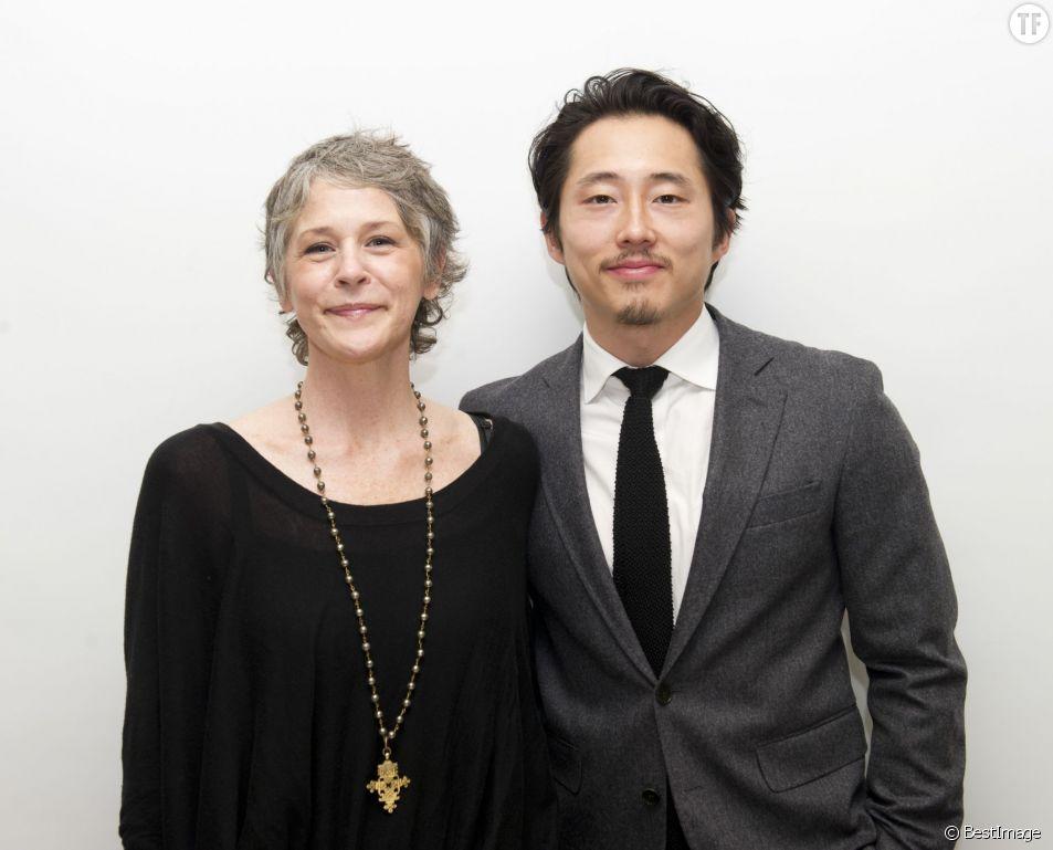 """Conférence de presse avec les acteurs de la série """"The Walking Dead"""" à Beverly Hills. Le 20 avril 2015"""