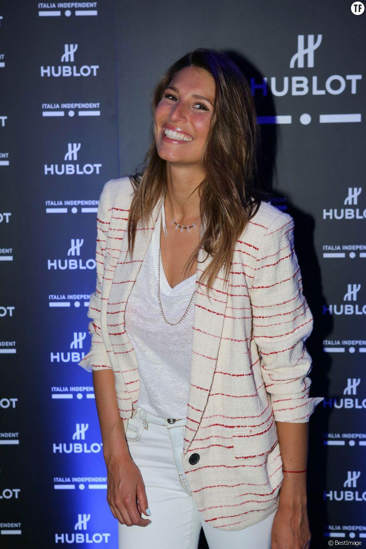 """Laury Thilleman à la soirée de lancement de la montre """"Big Bang Unico Italia Independent"""" de Hublot au restaurant Monsieur Bleu à Paris, le 24 juin 2015."""