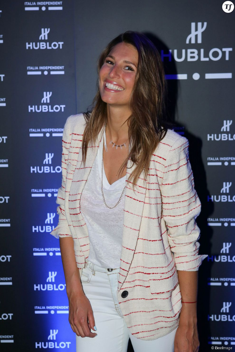 "Laury Thilleman à la soirée de lancement de la montre ""Big Bang Unico Italia Independent"" de Hublot au restaurant Monsieur Bleu à Paris, le 24 juin 2015."
