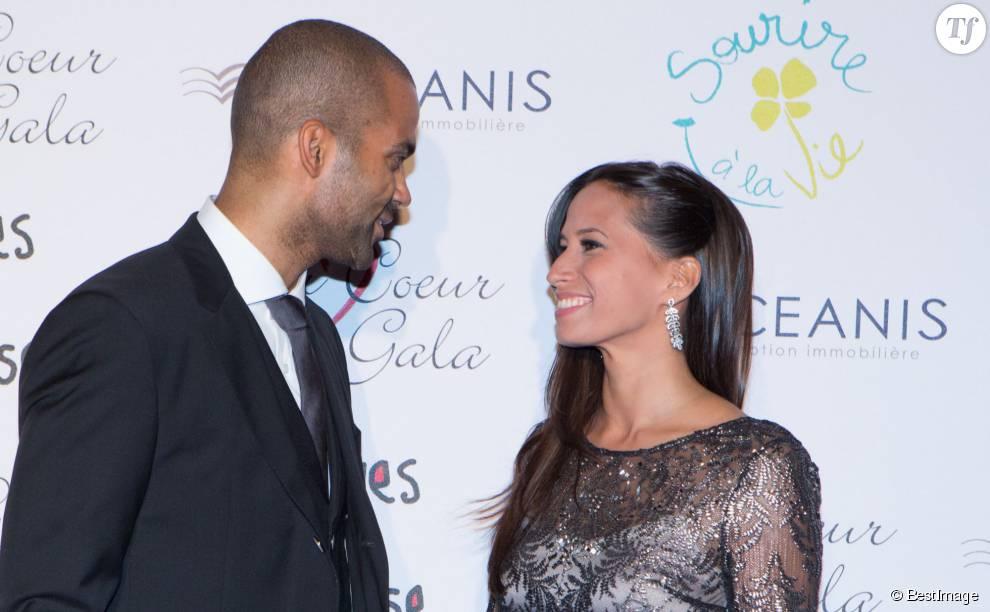 """Tony Parker et sa femme Axelle Francine - 8éme édition du """"Par Coeur Gala"""" à Lyon le 25 septembre 2014."""