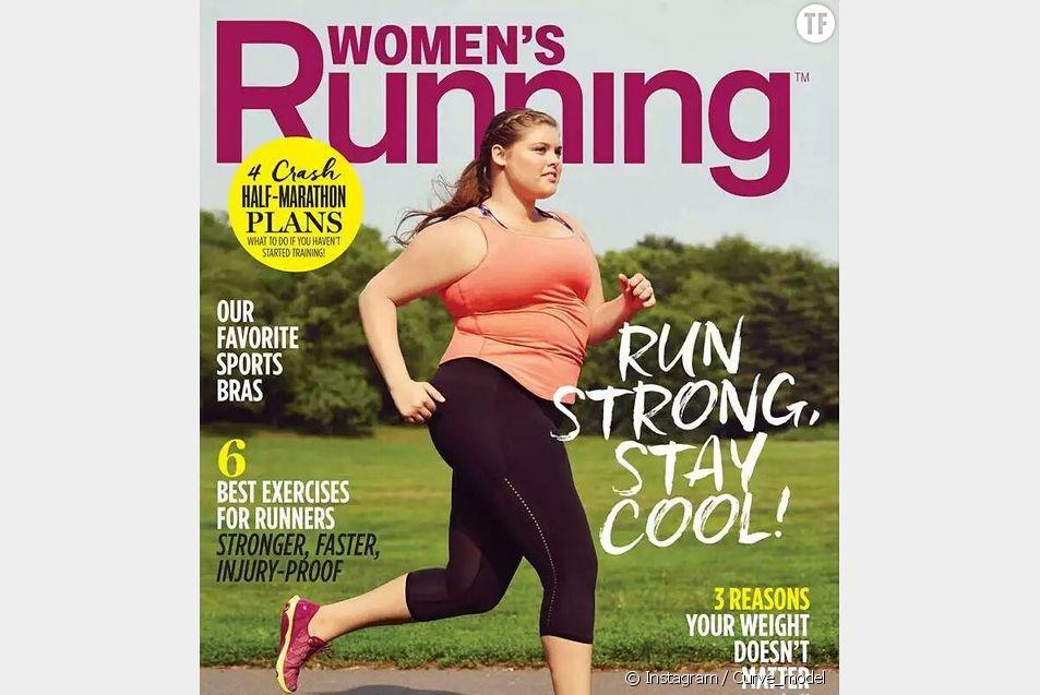 """Erica Schenk, mannequin grande taille, en une du magazine """"Women's Running""""."""