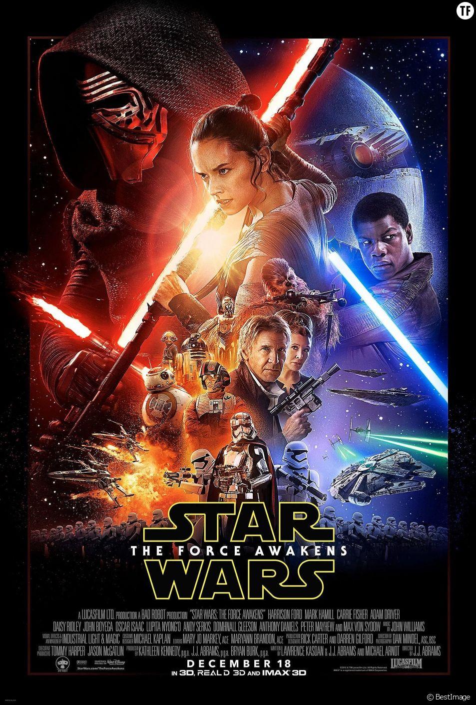 """Le poster officiel du prochain épisode de Star Wars """"la Force se Reveille"""" avec Daisy Ridley."""