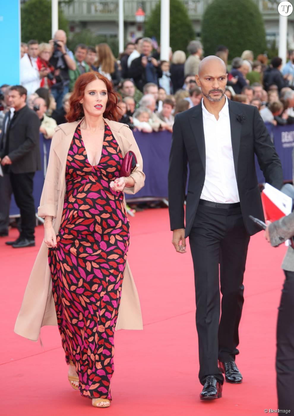 """Audrey Fleurot est enceinte - Audrey Fleurot enceinte et son compagnon Djibril Glissant - Avant-première du film """"Everest"""" et soirée d'ouverture lors du 41ème Festival du film américain de Deauville, le 4 septembre 2015."""