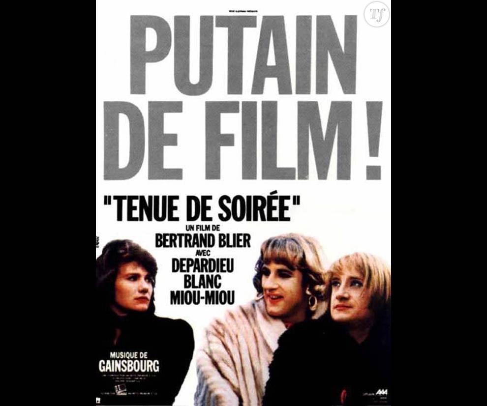 """L'affiche du film """"Tenue de soirée"""" avec Miou-Miou, Michel Blanc et Gérard Depardieu"""