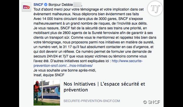 La réponse de la SNCF suite au témoignage de Debbie sur Paye ta shnek