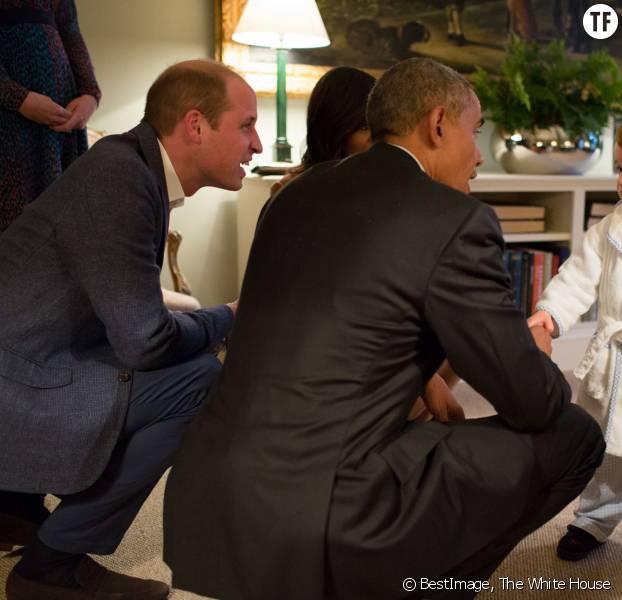 Le prince George rencontre Barack Obama et sa femme Michelle le 22 avril 2016
