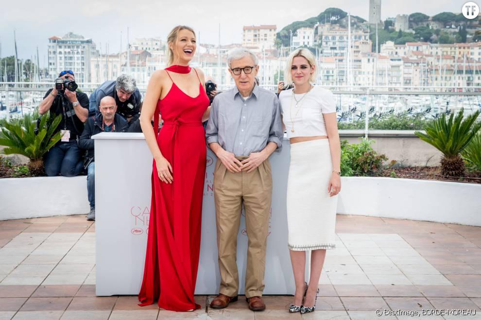 Kristen Stewart, Blake Lively, Woody Allen, Jesse Eisenberg au photocall du film Cafe Society pour le 69ème Festival de Cannes