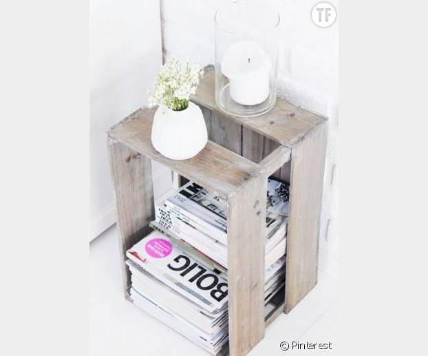 10 id es d co originales pour recycler une vieille caisse en bois terrafemina. Black Bedroom Furniture Sets. Home Design Ideas