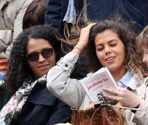 Noura El Shwekh, compagne de Jo-Wilfried Tsonga dans les tribunes des Internationaux de France de tennis de Roland Garros à Paris, le 24 mai 2016