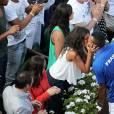 Jo-Wilfried Tsonga et sa compagne Noura en 2014 pour la demi-finale de la Coupe Davis entre la France et la Republique Tchèque à Roland-Garros