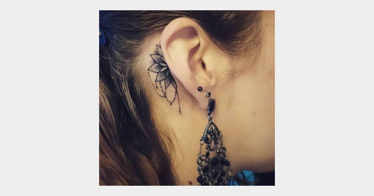tatouage derrière l'oreille : mandala - terrafemina