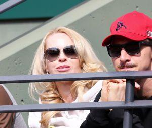 Zlatan Ibrahimovic et sa compagne Helena Seger dans les tribunes de Roland Garros en 2015
