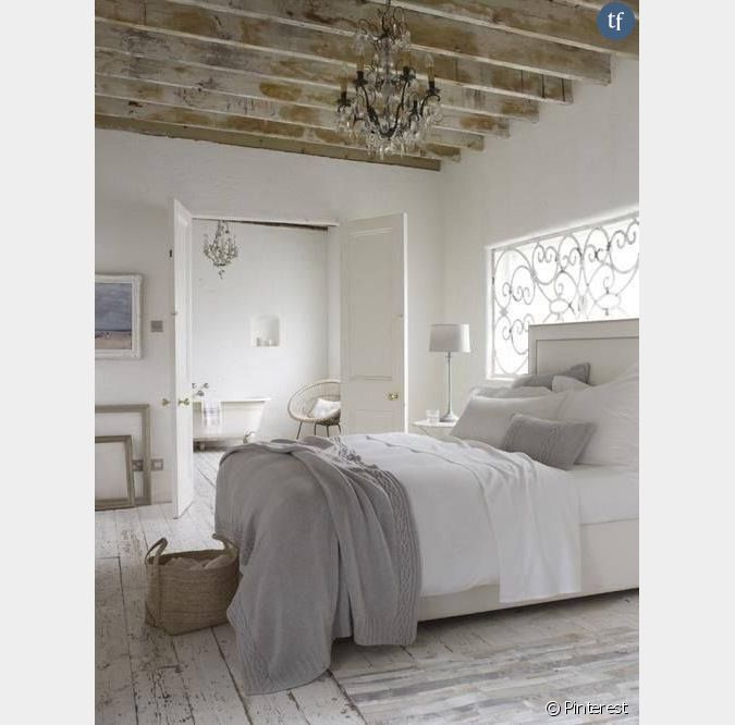d coration shabby chambre coucher neutre. Black Bedroom Furniture Sets. Home Design Ideas