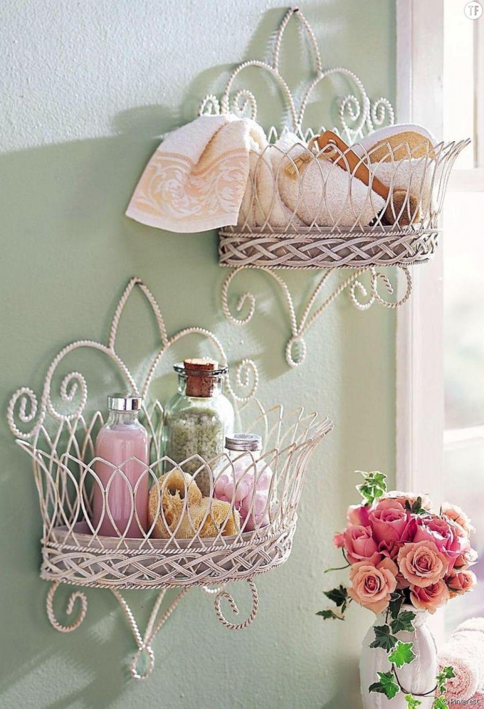 dcoration shabby petits meubles muraux pour salle de bain
