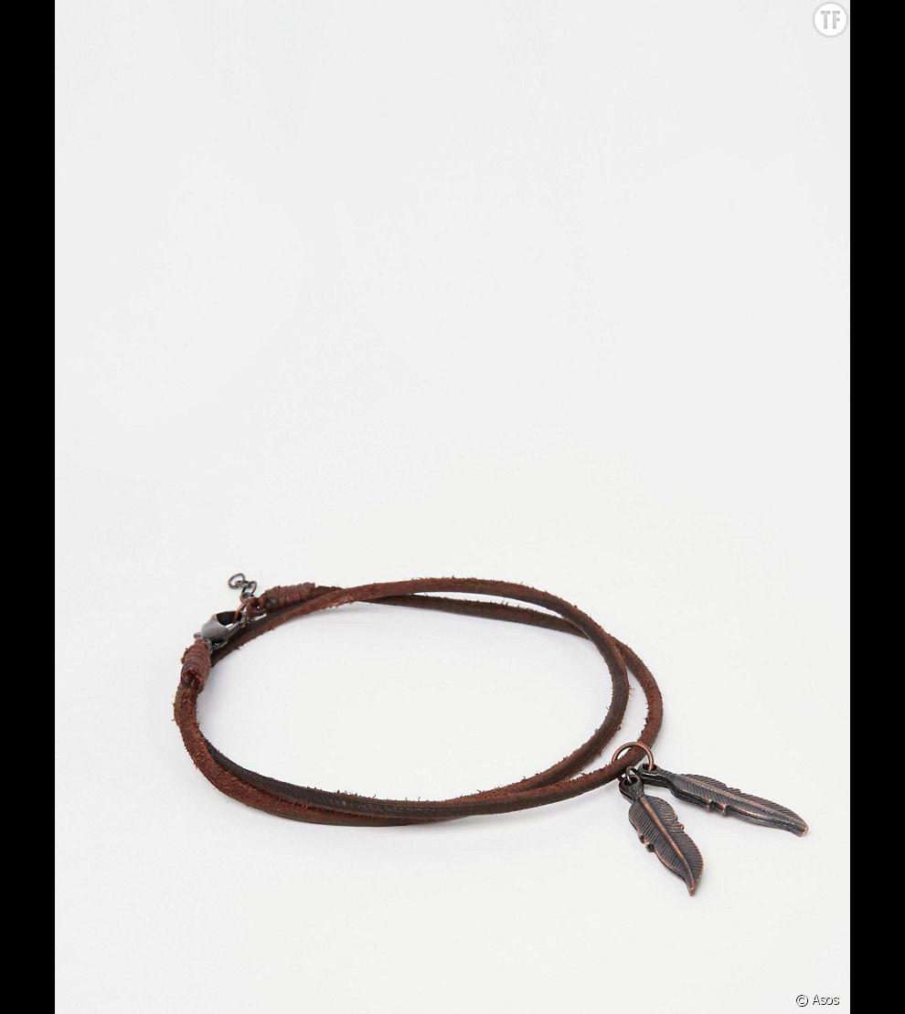 Bracelet de cheville en cuir orné de plumes 8,49 euros sur Asos