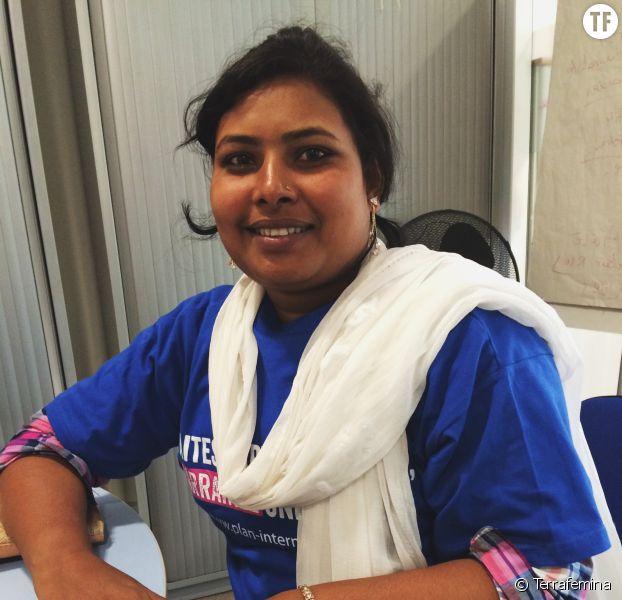Radha pendant notre interview dans les locaux de Plan International à Paris, à l'occasion de la Journée Internationale de la Fille 2016