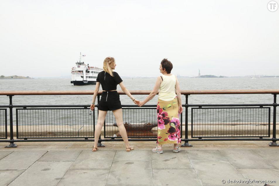 Alex Pawlowsha et sa mère prêtes pour se rendre à Liberty Island
