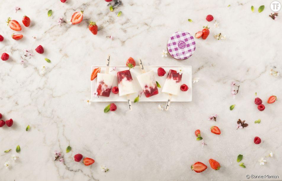 La recettes des glaces à la confiture Bonne Maman