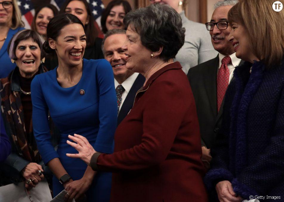 Alexandria Ocasio-Cortez et la députée Lois Frankel le 30 janvier 2019