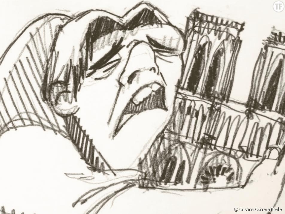 Le dessin de Quasimodo de Cristina Correra Freile après l'incendie de Notre-Dame de Paris