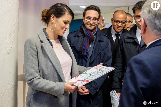L'ancienne secretaire d'Etat chargee de l'egalite entre les femmes et les hommes Marlene Schiappa au forum local des violences faites aux femmes d'Angoulème.