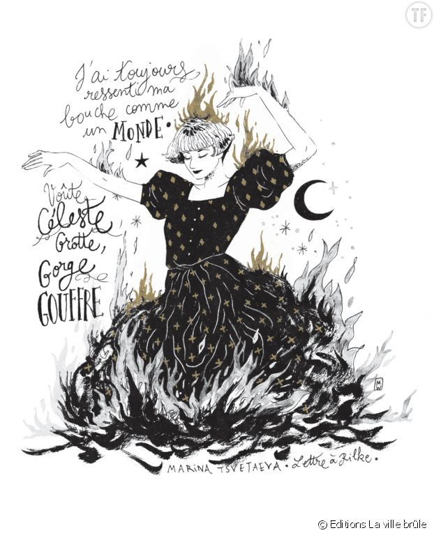 """""""Je serai le feu"""" de Diglee [Image : portrait de la poétesse Marina Tsvetaeva par Diglee]"""