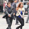 Poppy Montgomery et Dylan Walsh sur le tournage de la serie Unforgettable a New York, le 29 mai 2013.