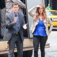 Poppy Montgomery et Dylan Walsh sur le tournage de la serie Unforgettable a New York, le 29 mai 2013.   Montgomery dans la série Unforgettable