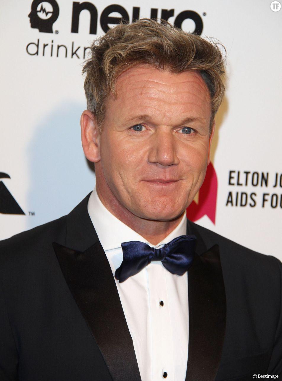"""Le britannique Gordon Ramsay prend les cuisines du restaurant du Grand hôtel de Bordeaux le Pressoir d'argent - Gordon Ramsay - Soirée """"Elton John AIDS Foundation Oscar Party"""" 2015 à West Hollywood, le 22 février 2015."""