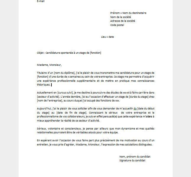 Candidature Spontanee Pour Un Stage Modele Et Conseils Terrafemina