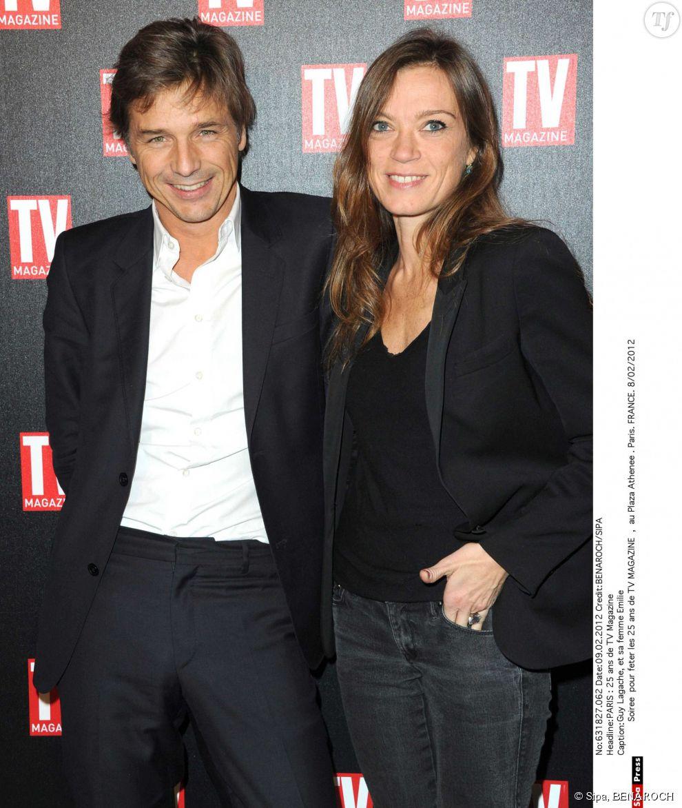 Guy Lagache  et sa femme Emilie Soiree pour feter les 25 ans de TV MAGAZINE, au Plaza Athenee . Paris.