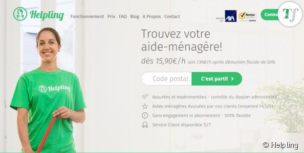 Capture écran du site web de Helpling.